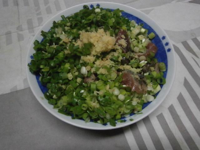 鰹のたたきに青ネギたっぷり乗せ簡単料理